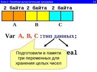 Блок 2. Линейная вычислительная программа 12 Var A B C A, В, С : тип данных I