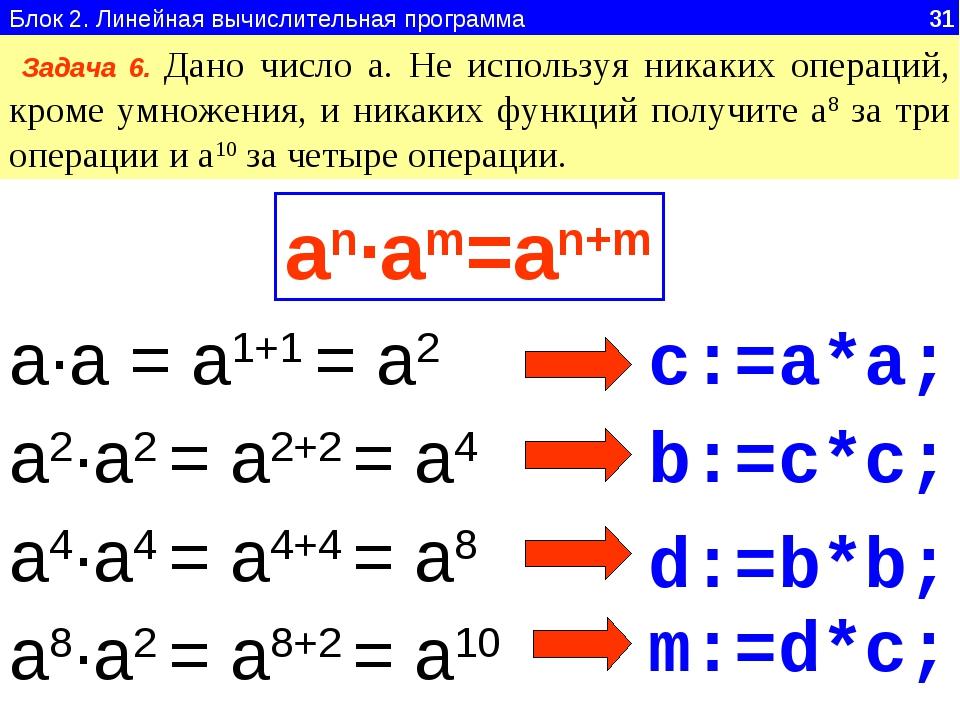 Блок 2. Линейная вычислительная программа 31 Задача 6. Дано число а. Не испол...