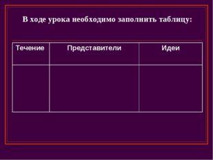 В ходе урока необходимо заполнить таблицу: Течение ПредставителиИдеи