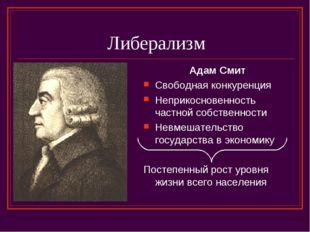 Либерализм Адам Смит Свободная конкуренция Неприкосновенность частной собстве
