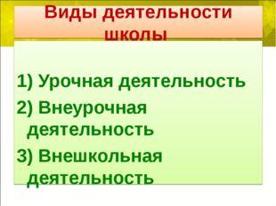Виды деятельности школы 1) Урочная деятельность 2) Внеурочная деятельность 3)