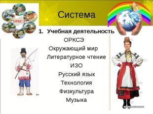 Система Учебная деятельность ОРКСЭ Окружающий мир Литературное чтение ИЗО Рус