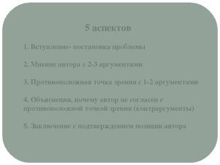 5 аспектов 1. Вступление- постановка проблемы 2. Мнение автора с 2-3 аргумен