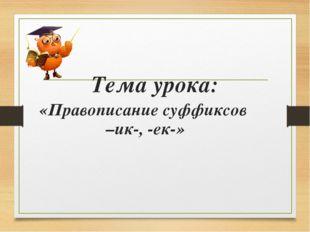 Тема урока: «Правописание суффиксов –ик-, -ек-»