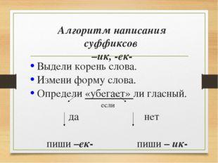 Алгоритм написания суффиксов –ик, -ек- Выдели корень слова. Измени форму слов