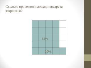 Сколько процентов площади квадрата закрашено? 40% 80% 36% 64% 20%