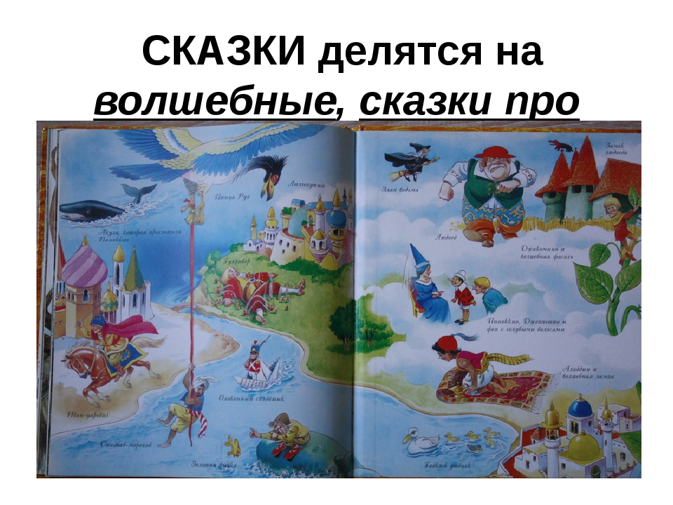 СКАЗКИ делятся на волшебные, сказки про животных и бытовые
