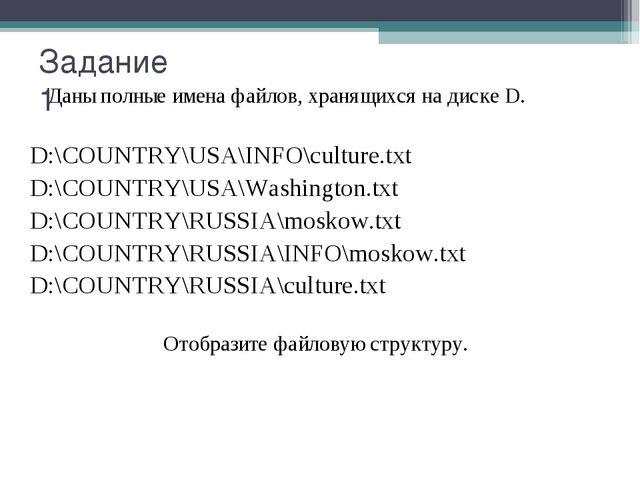 Даны полные имена файлов, хранящихся на диске D. D:\COUNTRY\USA\INFO\culture...