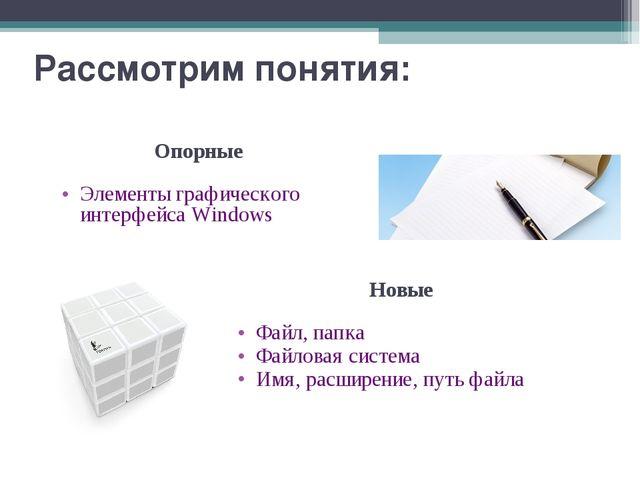 Рассмотрим понятия: Опорные Элементы графического интерфейса Windows Новые Фа...