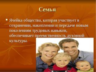 Семья Ячейка общества, которая участвует в сохранении, накоплении и передаче