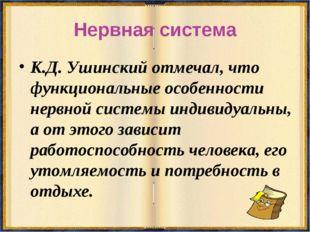 Нервная система К.Д. Ушинский отмечал, что функциональные особенности нервной