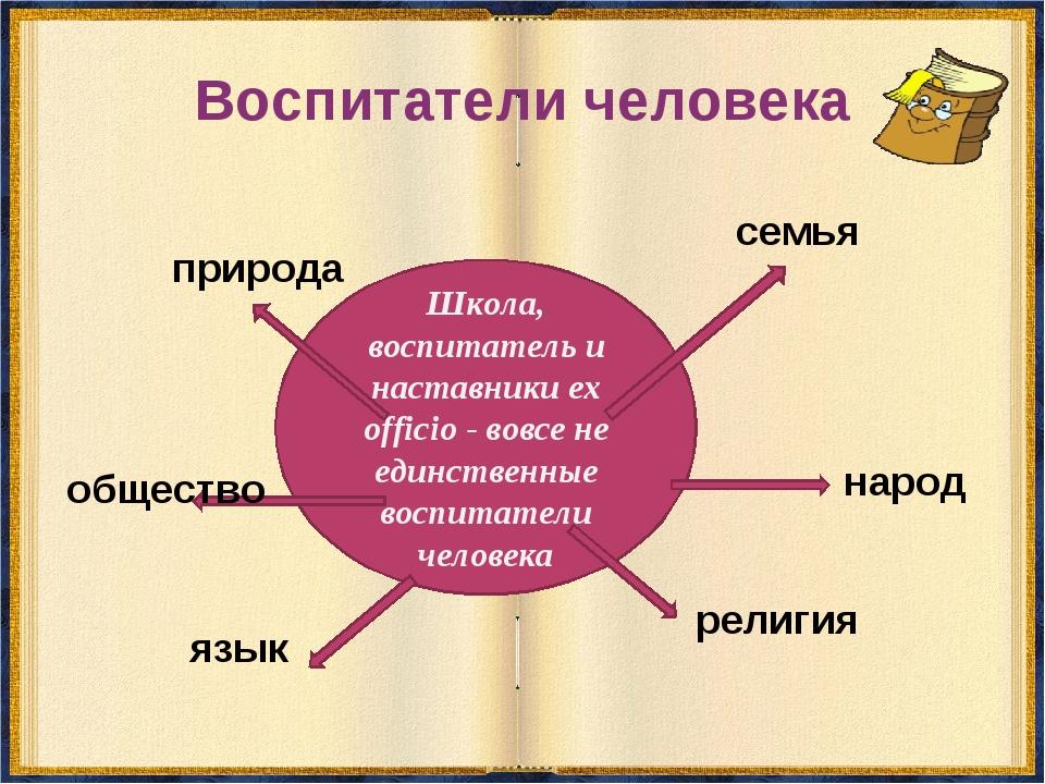Воспитатели человека Школа, воспитатель и наставники ех officio - вовсе не ед...