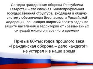Сегодня гражданская оборона Республики Татарстан – это сложная, многопрофильн