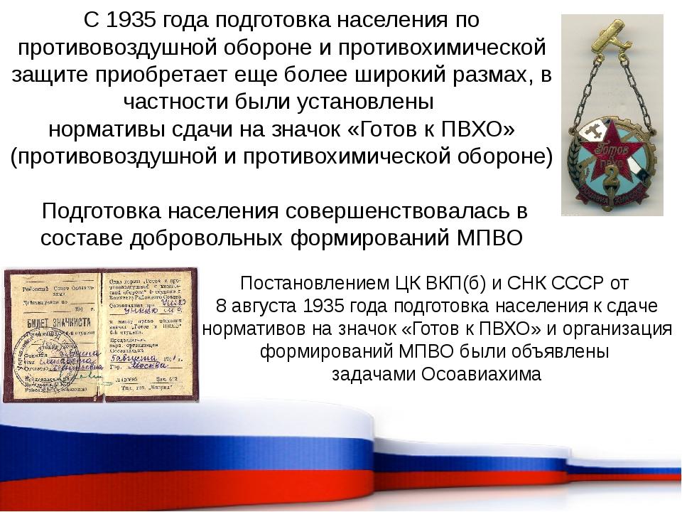 С 1935 года подготовка населения по противовоздушной обороне и противохимичес...