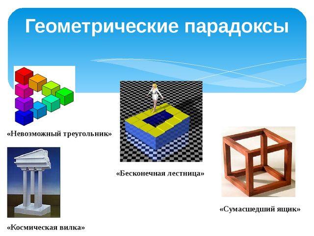Геометрические парадоксы «Невозможный треугольник» «Бесконечная лестница» «Ко...