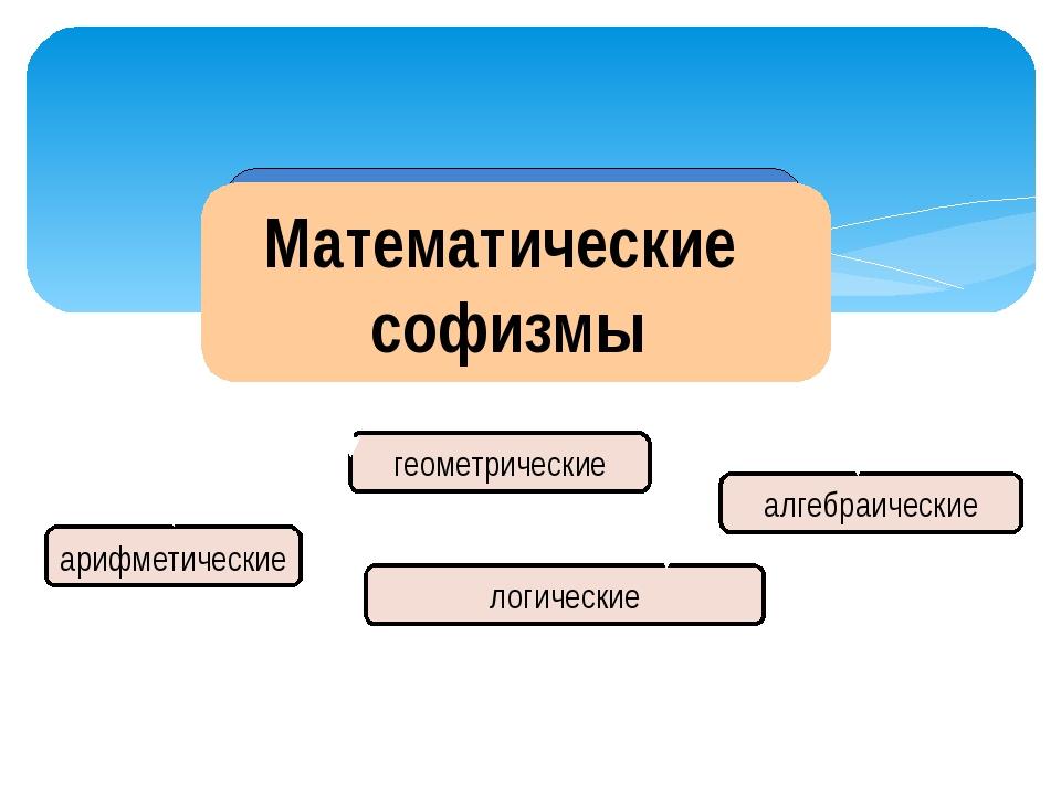арифметические геометрические алгебраические логические Математические софизмы