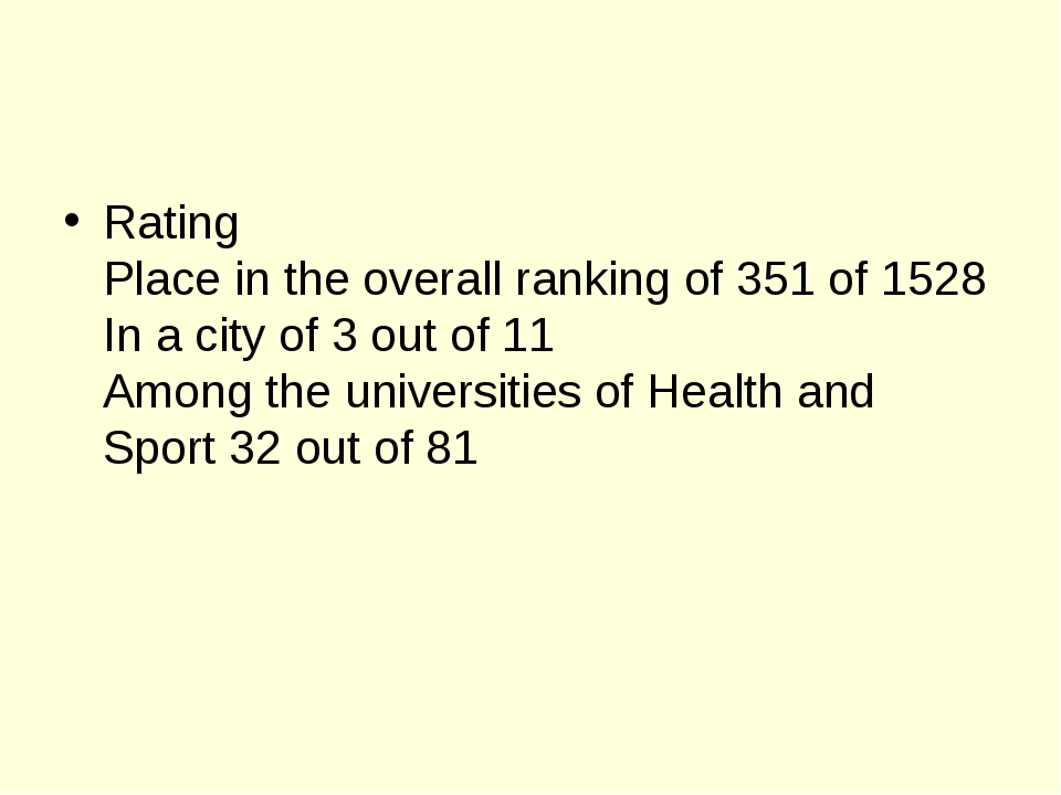 Rating Place in the overall ranking of 351 of 1528 In a city of 3 out of 11 A...