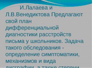 И.Лалаева и Л.В.Венедиктова Предлагают свой план дифференциальной диагностик