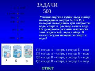 ЗАДАЧИ 500 Ученик опускал кубик льда и яйцо поочередно в сосуды А, Б и В, в к