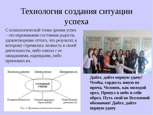 Технология создания ситуации успеха С психологической точки зрения успех – эт...