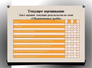 Текущее оценивание Лист оценки текущих результатов по теме «Обыкновенные дроб