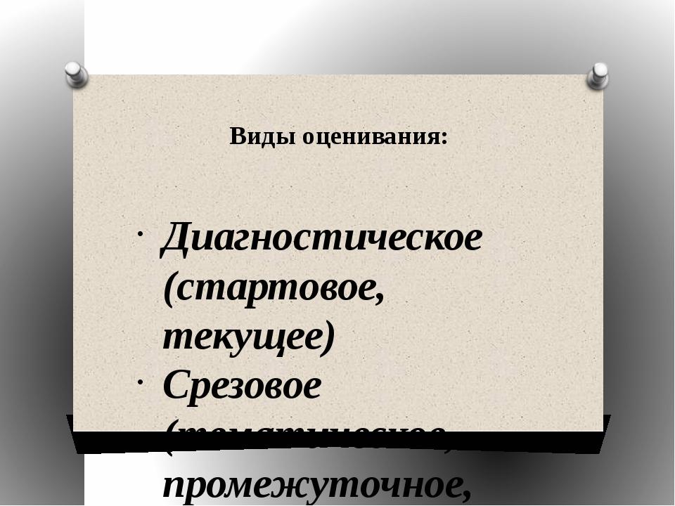 Виды оценивания: Диагностическое (стартовое, текущее) Срезовое (тематическое,...