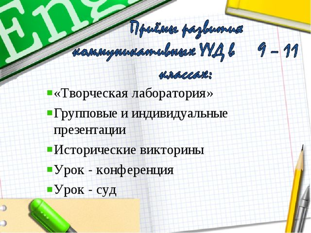 «Творческая лаборатория» Групповые и индивидуальные презентации Исторические...