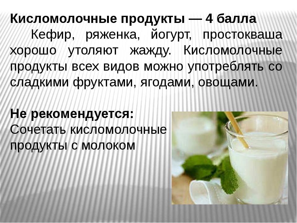 Кисломолочные продукты — 4 балла Кефир, ряженка, йогурт, простокваша хорошо у...