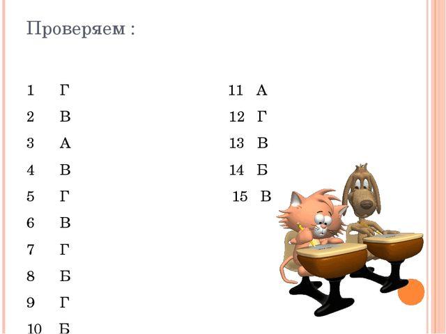 Проверяем : 1 Г 11 А 2 В 12 Г 3 А 13 В 4 В 14 Б 5 Г 15 В 6 В 7 Г 8 Б 9 Г 10 Б