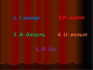 1. I -ампер 2.Р- ватт 3. А- джоуль 4. U- вольт 5. R- Ом