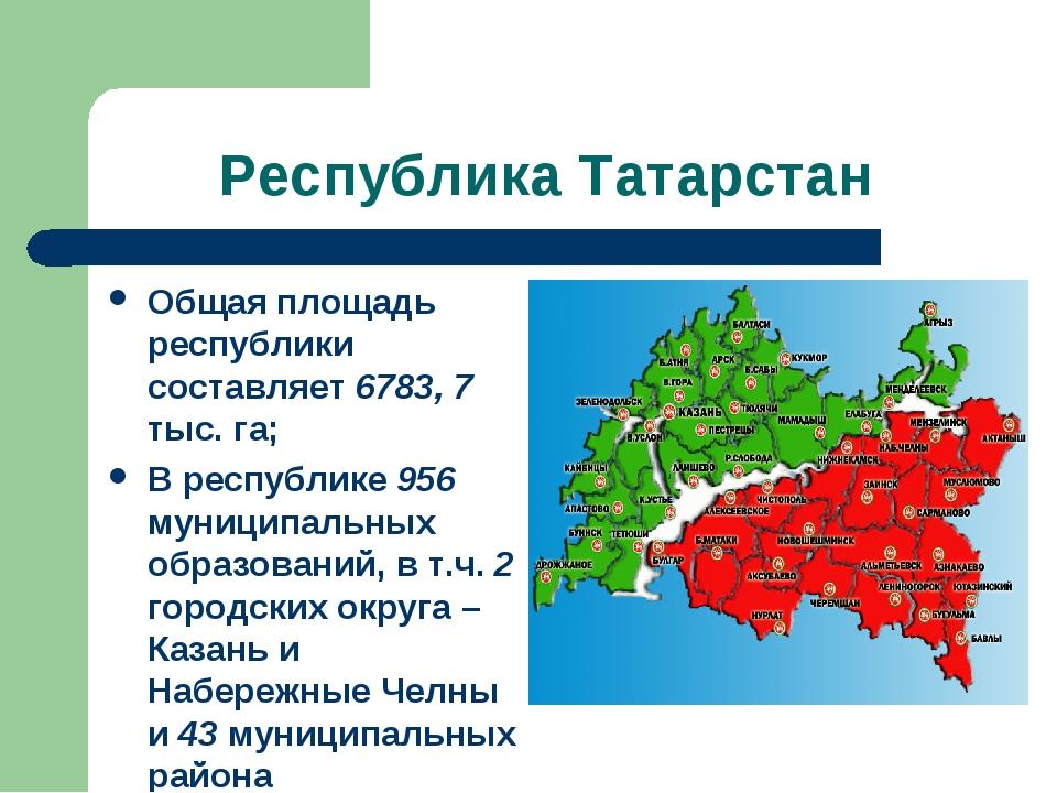 Республика Татарстан Общая площадь республики составляет 6783, 7 тыс. га; В р...