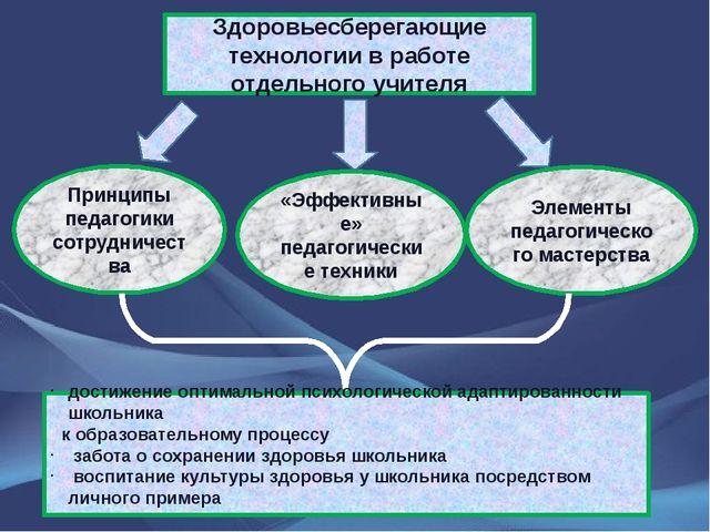 Здоровьесберегающие технологии в работе отдельного учителя Принципы педагогик...