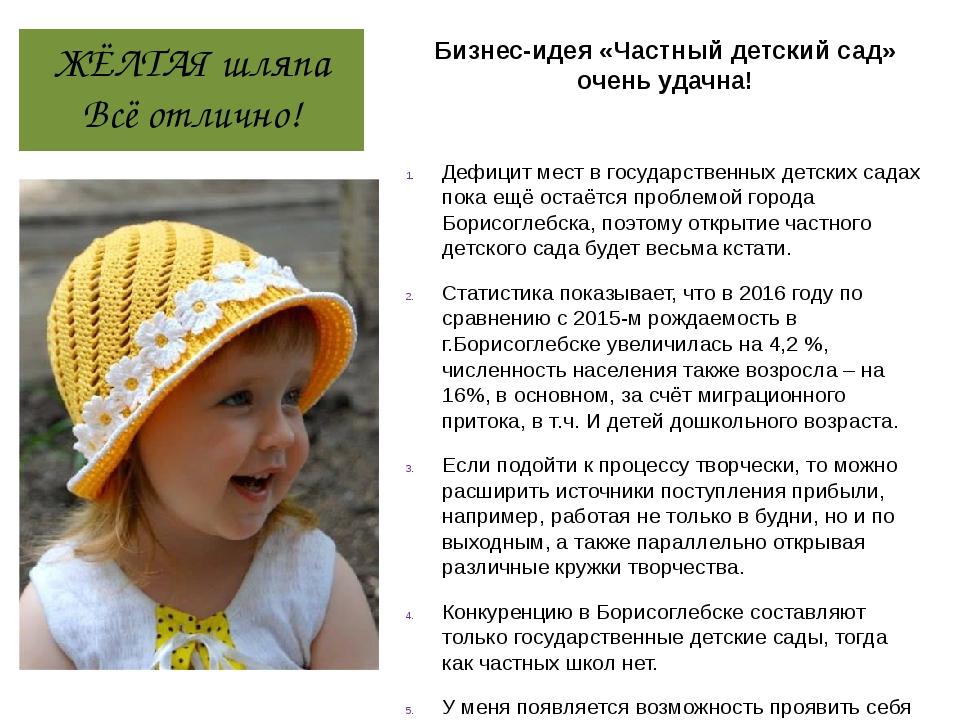 ЖЁЛТАЯ шляпа Всё отлично! Бизнес-идея «Частный детский сад» очень удачна! Деф...