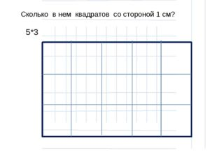 Сколько в нем квадратов со стороной 1 см? 5*3