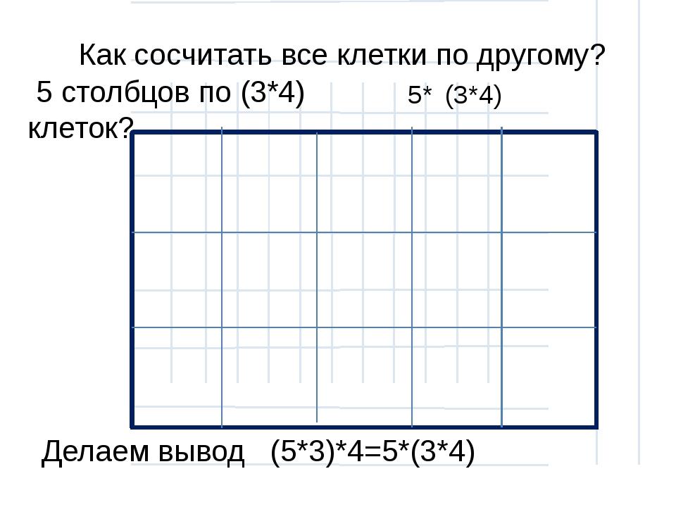 5* Как сосчитать все клетки по другому? (3*4) 5 столбцов по (3*4) клеток? Де...