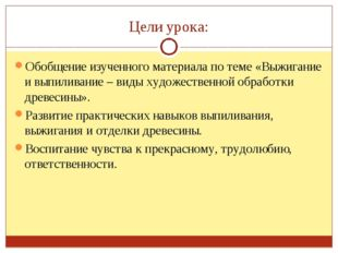 Цели урока: Обобщение изученного материала по теме «Выжигание и выпиливание –