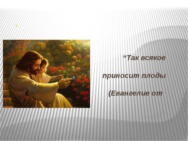 """""""Так всякое добро приносит плоды добрые"""" (Евангелие от Матфея)"""