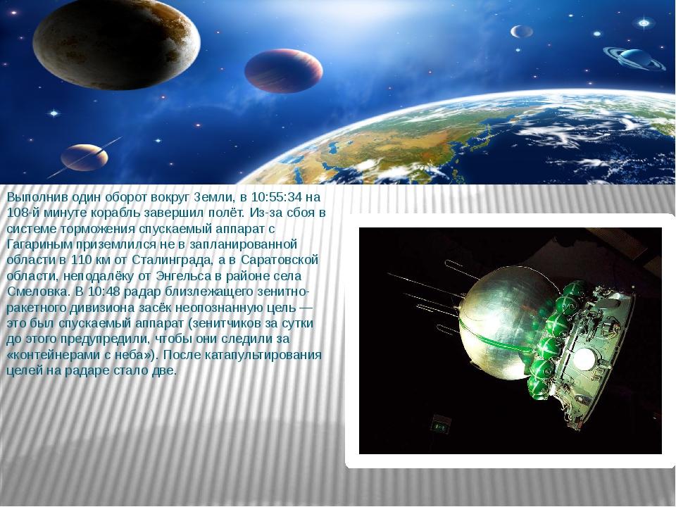 Выполнив один оборот вокруг Земли, в 10:55:34 на 108-й минуте корабль заверши...