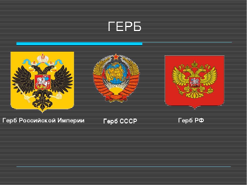ГЕРБ Герб РФ Герб СССР Герб Российской Империи
