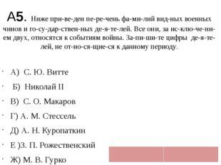 А5. Ниже приведен перечень фамилий видных военных чинов и государст