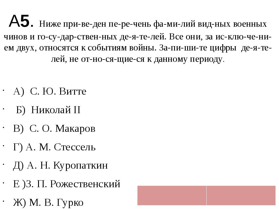 А5. Ниже приведен перечень фамилий видных военных чинов и государст...