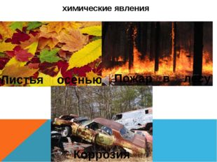 химические явления Листья осенью Пожар в лесу Коррозия