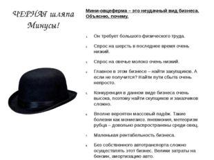 ЧЕРНАЯ шляпа Минусы! Мини-овцеферма – это неудачный вид бизнеса. Объясню, поч