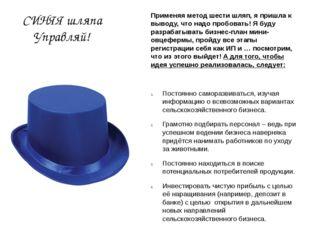 СИНЯЯ шляпа Управляй! Применяя метод шести шляп, я пришла к выводу, что надо