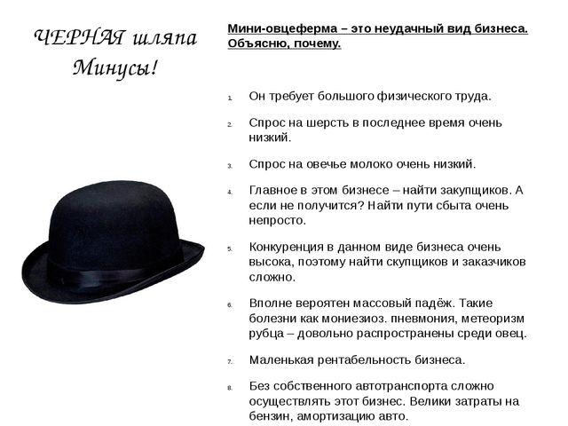 ЧЕРНАЯ шляпа Минусы! Мини-овцеферма – это неудачный вид бизнеса. Объясню, поч...