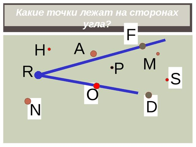 P N O S D Какие точки лежат на сторонах угла? M H R А F