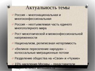 Актуальность темы Россия – многонациональная и многоконфессиональная Россия –