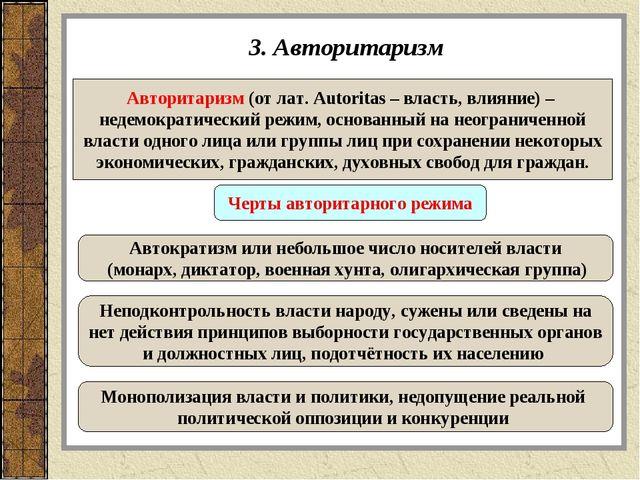 3. Авторитаризм Авторитаризм (от лат. Autoritas – власть, влияние) – недемокр...