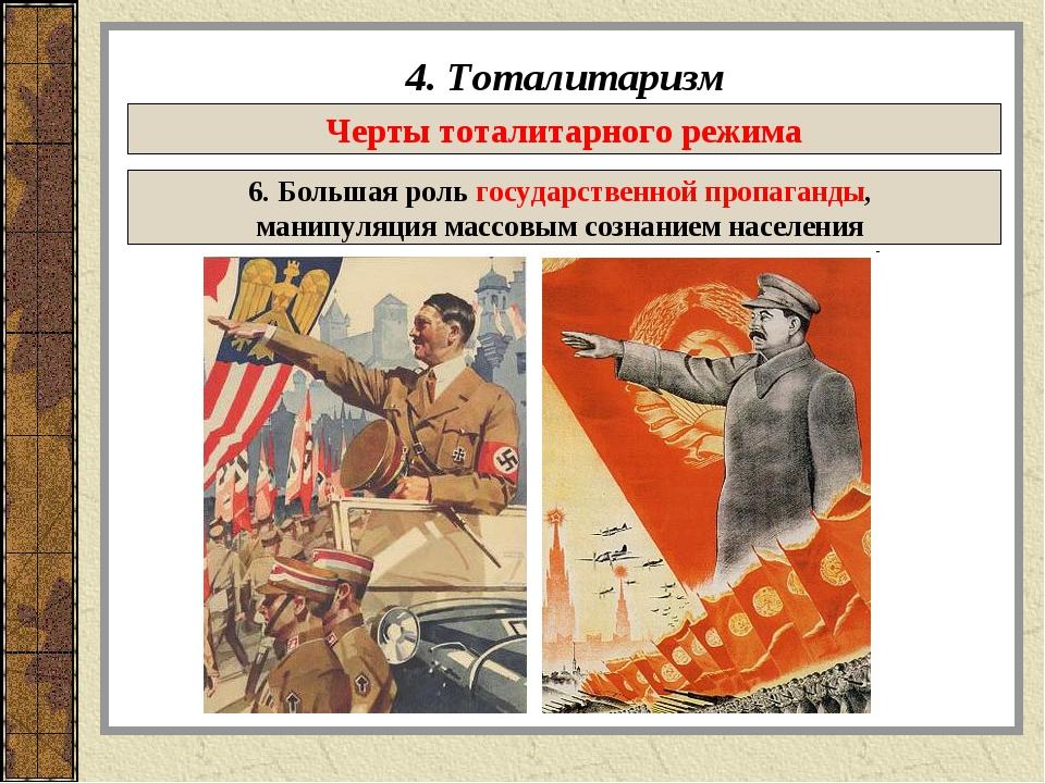 4. Тоталитаризм Черты тоталитарного режима 6. Большая роль государственной пр...