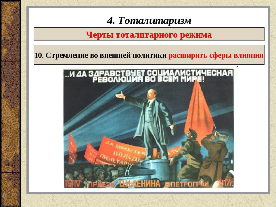 4. Тоталитаризм Черты тоталитарного режима 10. Стремление во внешней политики...
